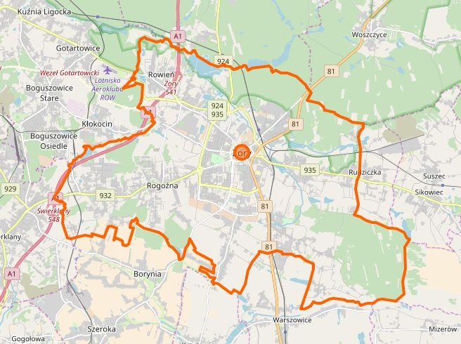 Żory - plan miasta