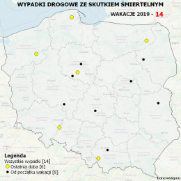 Mapa wypadków ze skutkiem śmiertelnym - Wakacje 2019